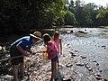Service biologist Bryan Tompkins helps check a kick net for aquatic macroinvertebrates (5029745718).jpg