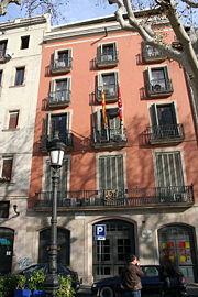 Seu del CADCI durant els fets del 6 d'octubre, a la Rambla de Santa Mònica de Barcelona, un dels llocs on hi va haver enfrontaments.