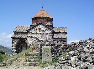 Surb Astvatsatsin church on Sevan peninsula, Armenia. Sevan peninsula was an island before the Sevan lake fall. Its one of most famous Armenian monasteries, and the place of battle between Armenian troops of Ashot Yerkat and arabs.