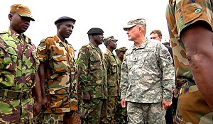 African Union Mission to Somalia - An American officer inspecting troops from Sierra Leone prior to deployment to Somalia, 2012