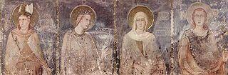 Simone Martini (ca 1280-1344): Den hellige Ludvig av Anjou med de hellige Elisabet, Margareta og Emerik av Ungarn (Szent Erzsébet, Szent Margit és Szent Imre) (1318), freske i kapellet San Martino i underkirken i basilikaen San Francesco i Assisi