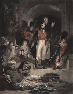 Sir David Baird, 1st Baronet - Baird discovering the body of Tipu Sultan after storming Seringapatam. Engraved from an 1839 painting by David Wilkie.