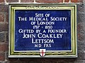 Site of the Medical Society of London 1744 - 1850 gifted by a founder John Coakley Lettsom MD FRS.jpg