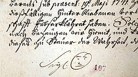 86ae406892c1 Signature of Bernard Hennet, Abbot of Žďár nad Sázavou Cistercian cloister,  in 1741, with smiley-like drawing