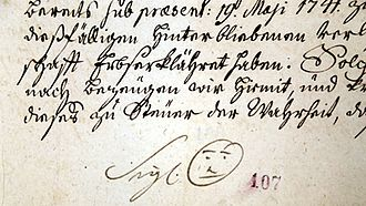 Smiley - Signature of Bernard Hennet, Abbot of Žďár nad Sázavou Cistercian cloister, in 1741, with smiley-like drawing