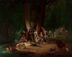 Gypsy encampment upon a creek.