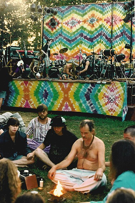 New Age meditation group at the Snoqualmie Moondance festival, 1992 Snoqualmie Moondance meditation 02.jpg