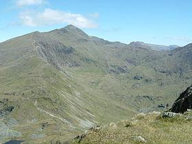 Vue du mont Snowdon depuis Yr Aran au sud.