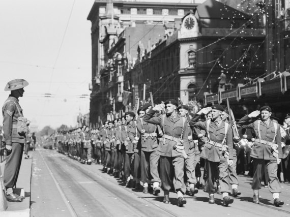 Soldiers of the 9th Divisional Cavalry Regiment passing the saluting base during a march through Melbourne in March 1943