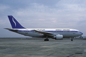 Somali Airlines - A Belgium-registered Airbus A310-200 in Somali Airlines livery at Fiumicino Airport (1989).