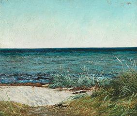 Sommerdag ved Greve Strand. Solskin. Blaa Himmel og blaat Vand