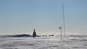 The Pole of Inaccessibility station, showing the bust of Lenin, in January 2007