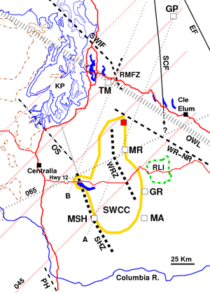 Puget Sound faults - The Southern Washington Cascades Conductor (SWCC, yellow) located at depth approximately between Mount St. Helens (MSH), Mount Adams (MA), Goat Rocks (GR), Mount Rainier (MR), and Riffe Lake, with a lobe extending towards Tiger Mountain (TM).  Also shown: Entiat Fault, Straight Creek Fault (inactive, southern continuation unknown), Southern Whidbey Island Fault, Rattlesnake Mountain Fault Zone, Olympic-Wallowa Lineament, White River/Naches River fault, Rimrock Lake Inlier (outlined in green), surface outcrops of the Crescent Formation (outlined in brown), Olympia Structure, Portland Hills fault zone.