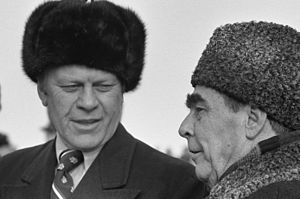 Vladivostok Summit Meeting on Arms Control - Brezhnev greets Ford upon his arrival at Vozdvizhenka Airbase on November 23, 1974.