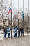 Soyuz MS-12 crew and backup crew during flag-raising.jpg