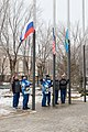 Soyuz MS-12 crew and backup crew during flag-raising.jpg