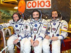 v.l.: Scott Kelly, Alexander Kaleri, Oleg Skripotschka