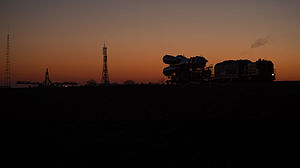 Soyuz TMA-07M - The spacecraft being transported to the launch site on 17 December 2012.