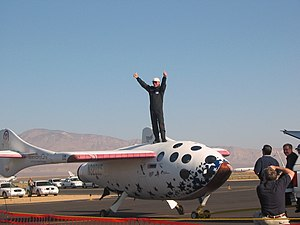 SpaceShipOne test pilot Mike Melvill after the launch in pursuit of the Ansari X Prize on September 29, 2004.jpg