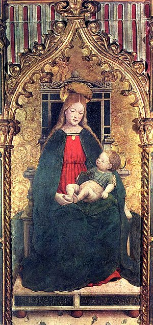 Giovanni Martino Spanzotti - Virgin and Child Enthroned, tempera on panel, ca. 1480, detail of a polyptych, Galleria Sabauda, Turin.