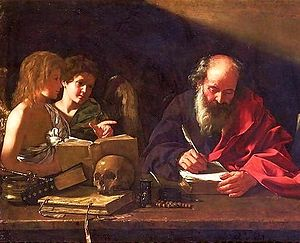 Hermit - St. Jerome, who lived as a hermit near Bethlehem, depicted in his study being visited by two angels (Cavarozzi, early 17th century).