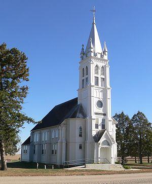 National Register of Historic Places listings in Burt County, Nebraska - Image: St. Johannes Kirche (Lyons, Nebraska) from NW