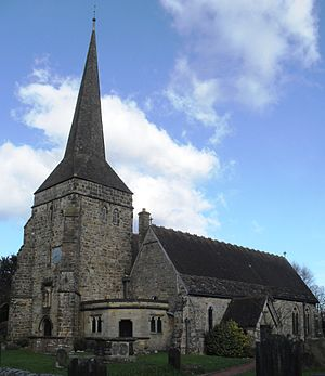 St Margaret's Church, West Hoathly - The vestry (centre foreground) and porch were 19th-century additions.