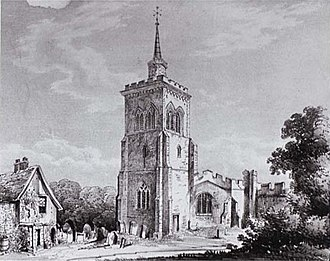 Church of St Mary the Virgin, Baldock - St Mary's church in 1852