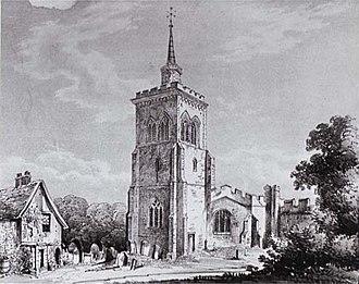 Church of St Mary the Virgin, Baldock - St Mary's church in 1852