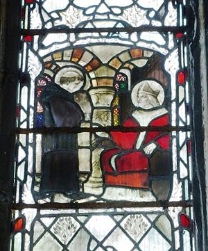 Germanus of Auxerre - Stained glass window at Gloucester Cathedral depicting St Patrick being taught by St Germanus