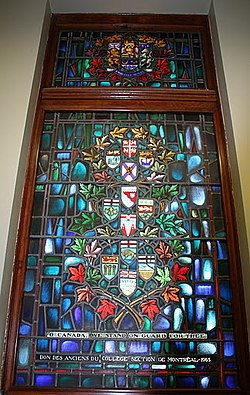 o canada we stand on guard for thee stained glass yeo hall royal military college of canada features arms of the canadian provinces and territories