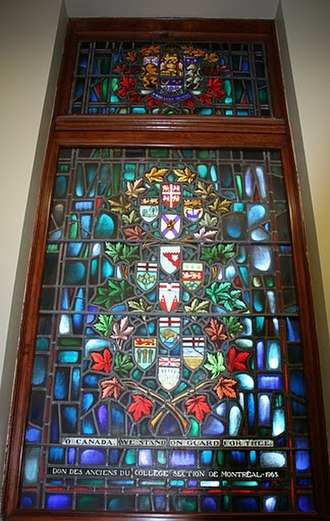 "Provinces and territories of Canada - ""O Canada we stand on guard for thee"" Stained Glass, Yeo Hall, Royal Military College of Canada features arms of the Canadian provinces and territories as of 1965"