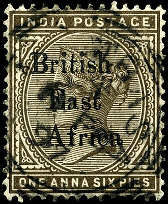 Postage stamps and postal history of British East Africa - Image: Stamp British East Africa 1895 1a 6p