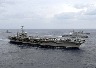 USS George Washington (CVN-73) - USS George Washington participating in a photo exercise with other U.S. Navy and Japan Maritime Self-Defense Force ships at the culmination of ANNUALEX 2008.