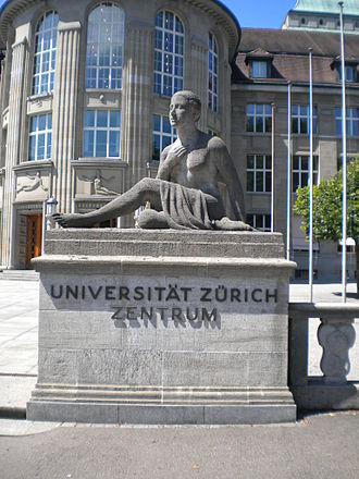 University of Zurich - Statue at the entrance