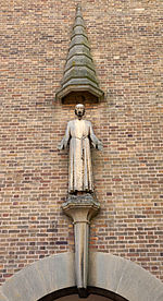 Statue of Christ on All Saints church, Coneyford Road, Shard End, Birmingham - Bloye.jpg