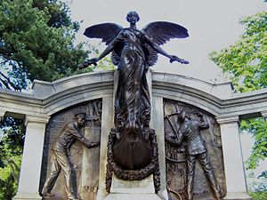 Titanic Engineers' Memorial - Statue of the goddess Nike and carvings representing the engineer officers