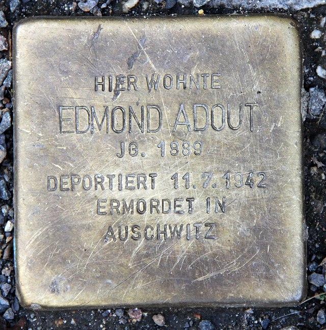 Photo of Edmond Adout brass plaque