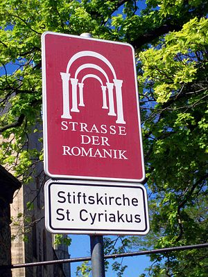 Romanesque Road - Road sign at Gernrode