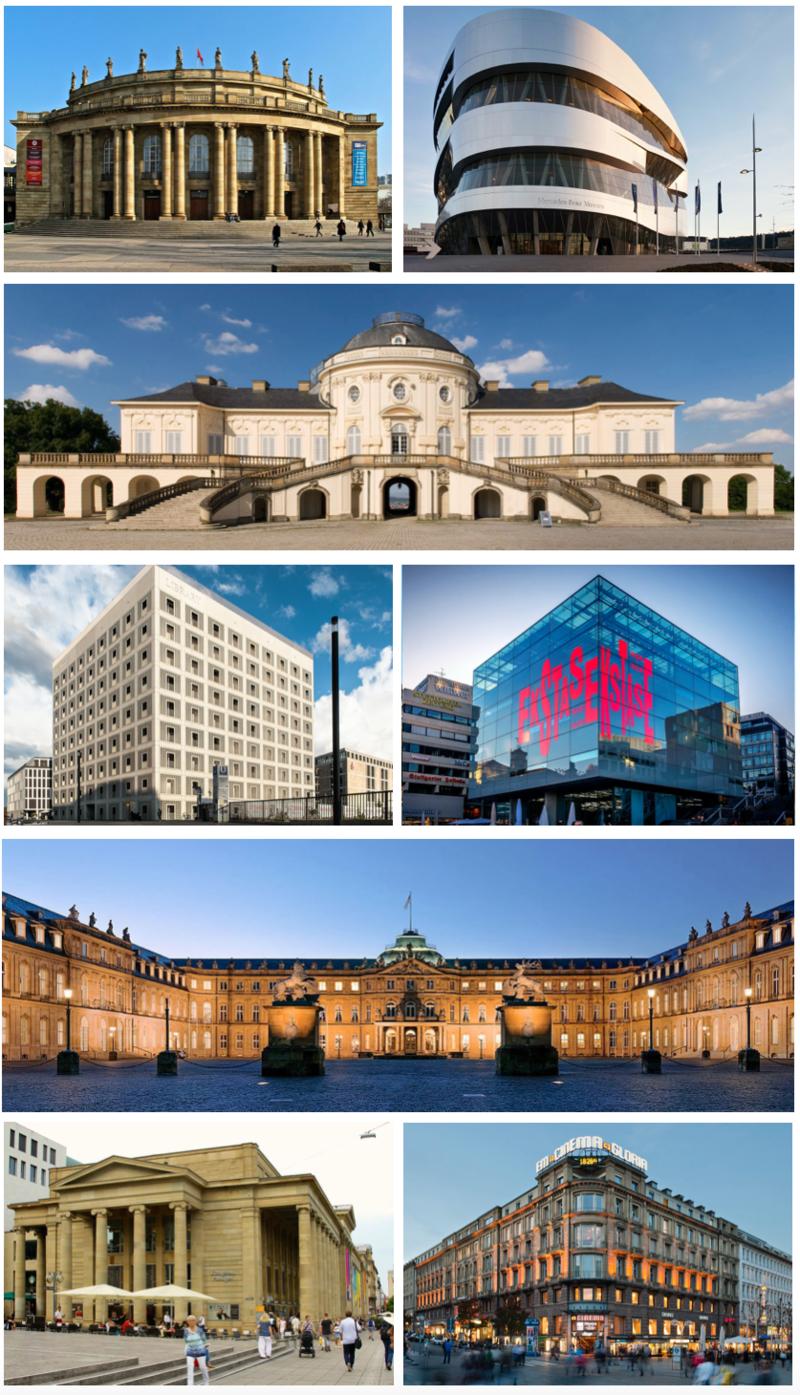Clockwise from top left: Staatsoper Stuttgart, Mercedes-Benz Museum, Schloss Solitude, Kunstmuseum Stuttgart, Neues Schloss, Marquardtbau, Königsbau, Stadtbibliothek