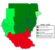 Aree sotto controllo governativo ed aree autonome al luglio 2006.