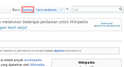 "Image of Wikipidia showing the edit link above the page title. Screen readers may show this under the ""views"" heading."