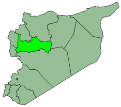 Map of Syria with Hama highlighted.