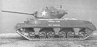 M26 Pershing - T23 with production cast turret mounting 76 mm M1A1 gun. The T23 turret would be used for the 76-mm M4 Sherman. Note the vertical volute spring suspension.
