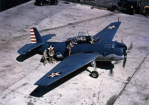 Grumman TBF Avenger - TBF-1 Avenger early in 1942. Note the red spot centered in the U.S. roundel and flag-inspired fin flash on the rudder, both of which were removed prior to the Battle of Midway to avoid confusion with Japanese insignia