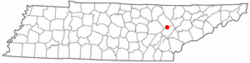 Location of Harriman, Tennessee