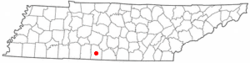 Location of Pulaski, Tennessee