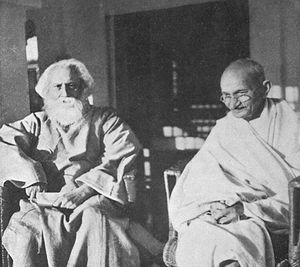 Tagore (left) meets with Mahatma Gandhi at San...