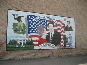 H. C. Pitney Variety Store Building - A Ronald Reagan-themed mural on the side of the Pitney Building