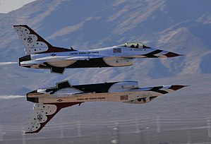 United States Air Force Thunderbirds - Two F-16s demonstrate a Reflection Pass